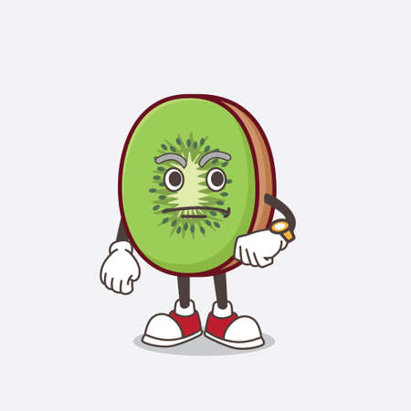 A picture of Kiwi Fruit mascot character on a waiting gesture