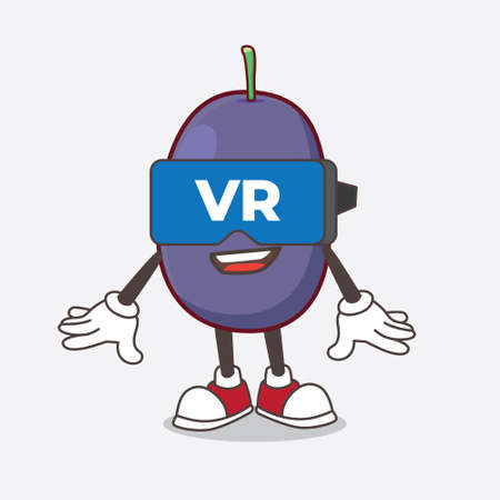 A picture of Java Plum cartoon mascot character with Virtual reality headset
