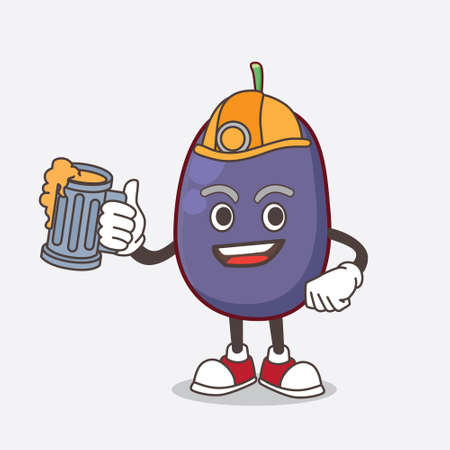 A picture of Java Plum cartoon mascot character holding a glass of beer  イラスト・ベクター素材