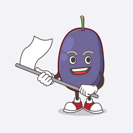 A picture of Java Plum cartoon mascot character waving a flag