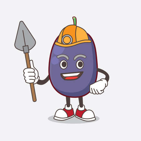 A picture of Java Plum cartoon mascot character as cool miner