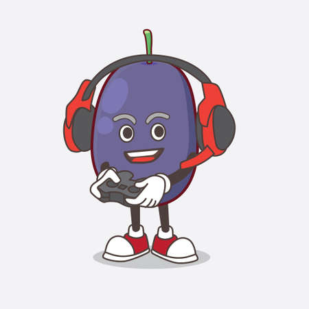 A picture of Java Plum cartoon mascot character play a game with headphone and controller