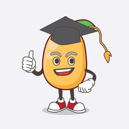 An Illustration of Kumquat Fruit cartoon mascot character in a black Graduation hat