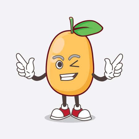 An Illustration of Kumquat Fruit cartoon mascot character with Winking eye