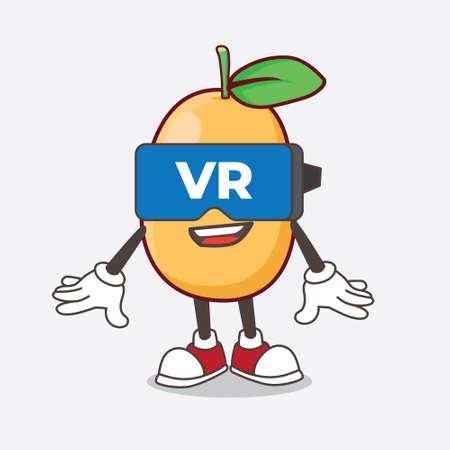 An Illustration of Kumquat Fruit cartoon mascot character with Virtual reality headset