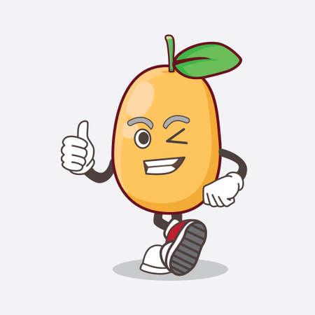 An Illustration of Kumquat Fruit cartoon mascot character making Thumbs up gesture Illustration