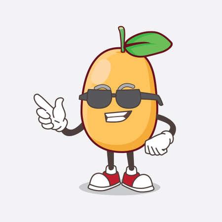 An Illustration of Kumquat Fruit cartoon mascot character wearing black glasses Illustration