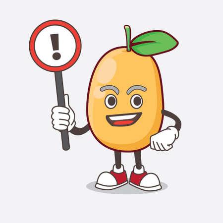 An Illustration of Kumquat Fruit cartoon mascot character rise up a warning sign