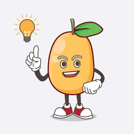 An Illustration of Kumquat Fruit cartoon mascot character get an idea