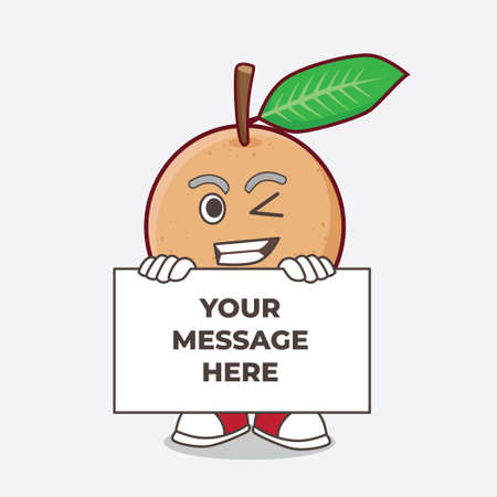 An illustration of Longan Fruit cartoon mascot character with funny face hides behind a board