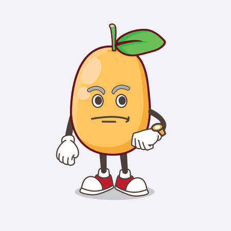 An Illustration of Kumquat Fruit cartoon mascot character on a waiting gesture Ilustrace