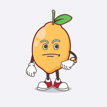 An illustration of Lemon Fruit cartoon mascot character on a waiting gesture Ilustrace