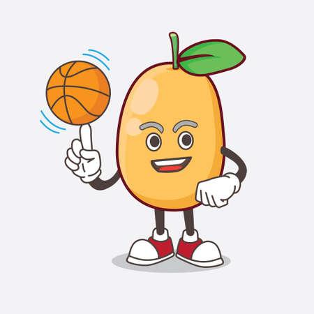 An Illustration of Kumquat Fruit cartoon mascot character with a basketball