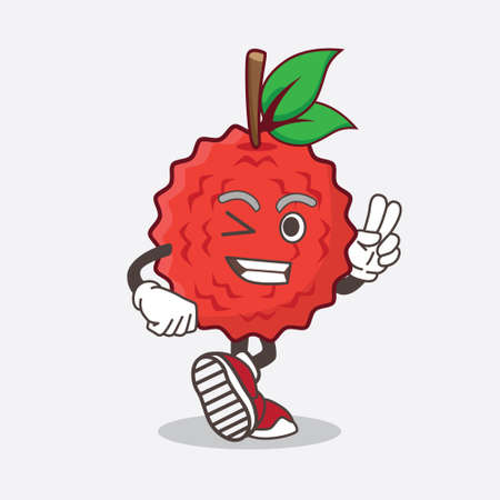 An illustration of Lychee Fruit cartoon mascot character with two fingers