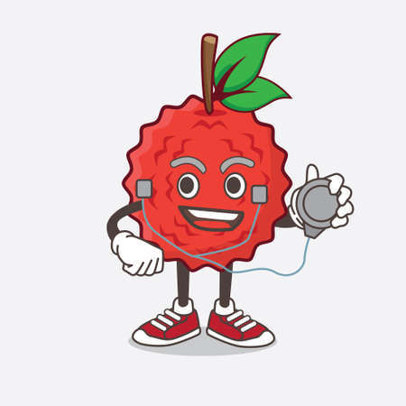 An illustration of Lychee Fruit cartoon mascot character as a Doctor working with stethoscope Illustration