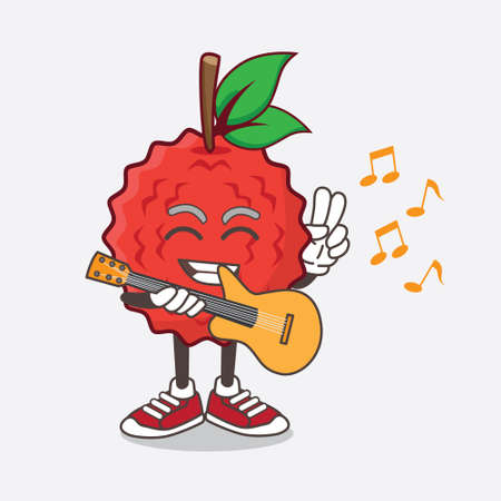 An illustration of Lychee Fruit cartoon mascot character playing a guitar