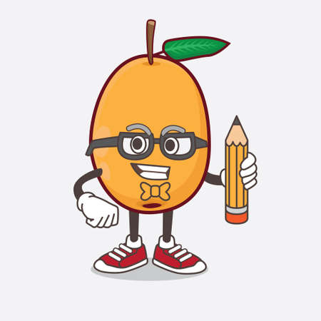 An illustration of Loquat Fruit cartoon mascot character holding pencil