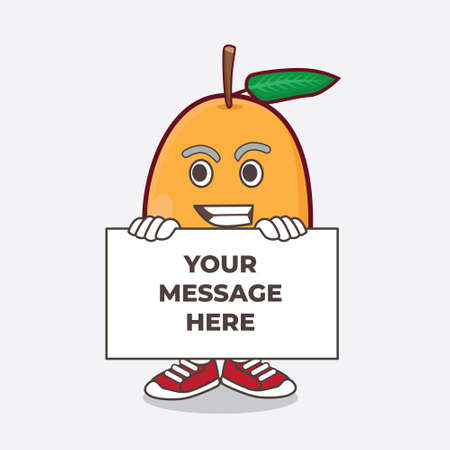 An illustration of Loquat Fruit cartoon mascot character with funny face hides behind a board