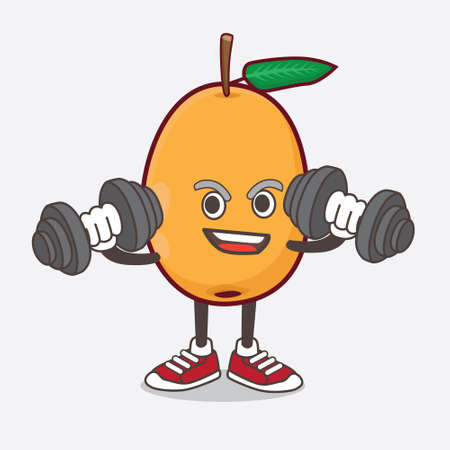 An illustration of Loquat Fruit cartoon mascot character on fitness exercise trying barbells