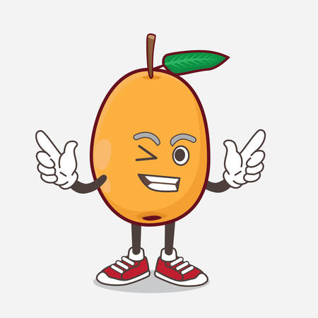 An illustration of Loquat Fruit cartoon mascot character with Winking eye 向量圖像
