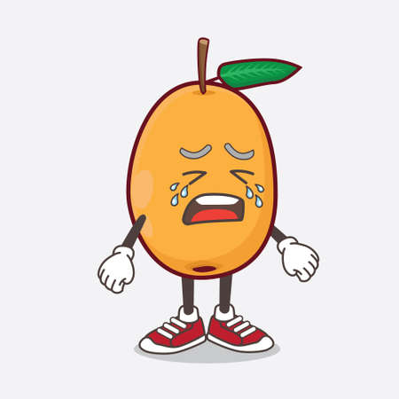 An illustration of Loquat Fruit cartoon mascot character with crying expression