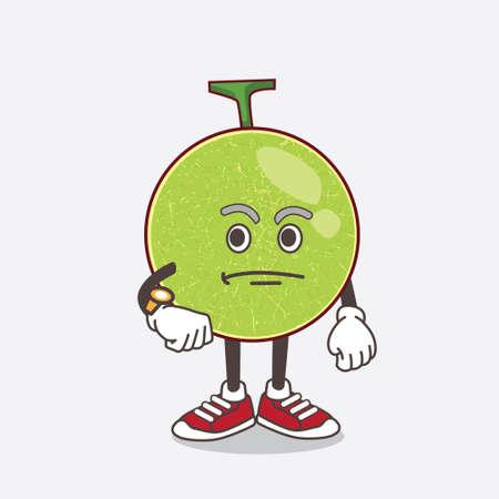 An illustration of Cantaloupe Melon cartoon mascot character holding a menu Ilustração