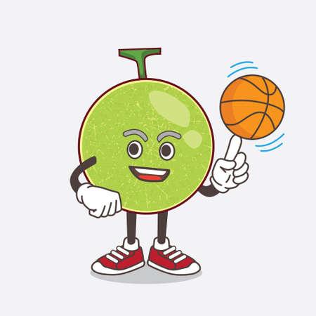 An illustration of Cantaloupe Melon cartoon mascot character holding money bags Ilustração