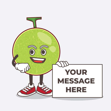 An illustration of Cantaloupe Melon cartoon mascot character holding a board sign message