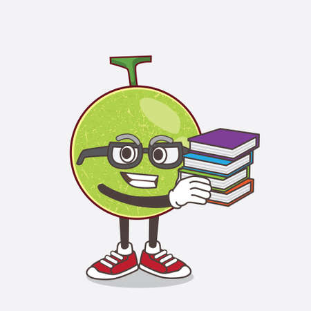 An illustration of Cantaloupe Melon cartoon mascot character studying with some books Vetores
