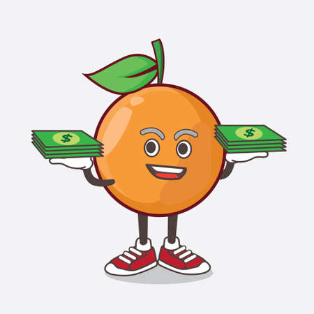 An illustration of Clementine Orange Fruit cartoon mascot character with money on hands