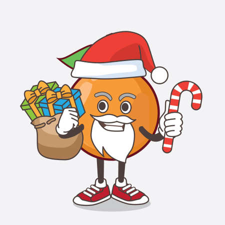 An illustration of Clementine Orange Fruit cartoon mascot character in Santa costume with candy