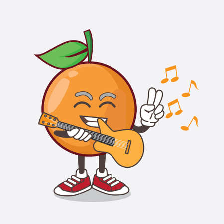 An illustration of Clementine Orange Fruit cartoon mascot character playing a guitar