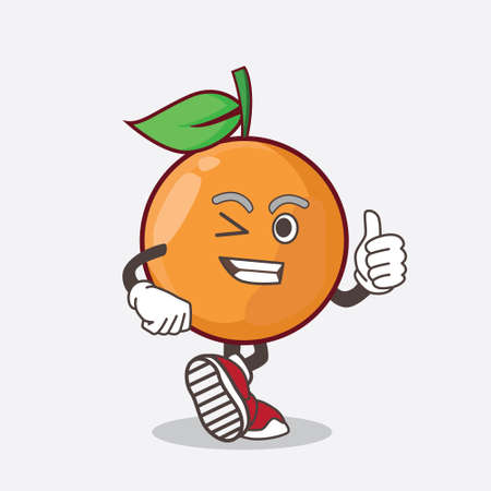An illustration of Clementine Orange Fruit cartoon mascot character making Thumbs up gesture