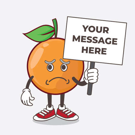 An illustration of Clementine Orange Fruit cartoon mascot character with cheerless face and holding a message board Stock Illustratie
