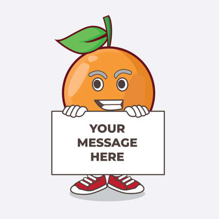 An illustration of Clementine Orange Fruit cartoon mascot character with funny face hides behind a board