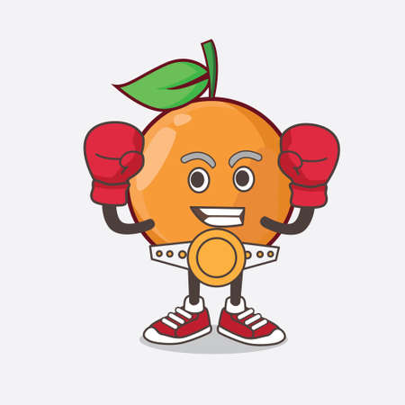 An illustration of Clementine Orange Fruit cartoon mascot character in sporty boxing style Stock Illustratie