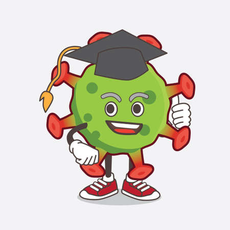 An illustration of Green Coronavirus cartoon mascot character in a black Graduation hat