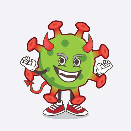 An illustration of Green Corona Virus cartoon mascot character as red devil with horns and tail