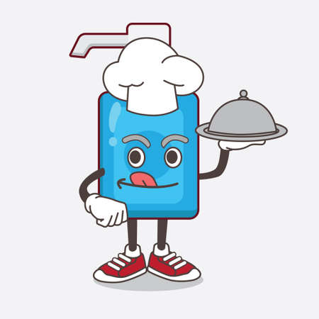 An illustration of Hand Sanitizer cartoon mascot character as a Chef with food on tray ready to serve 向量圖像