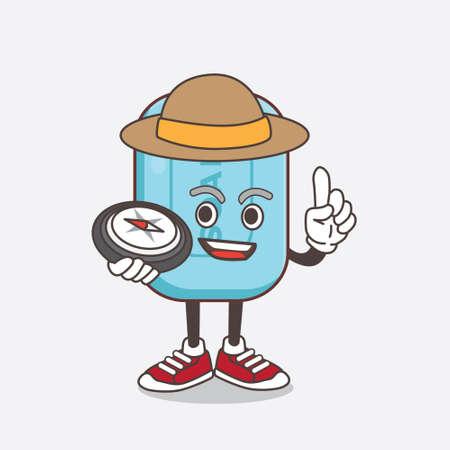 An illustration of Blue Soap cartoon mascot character having a compass