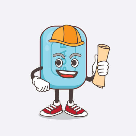 An illustration of Blue Soap architect cartoon mascot character having blueprints and yellow helmet