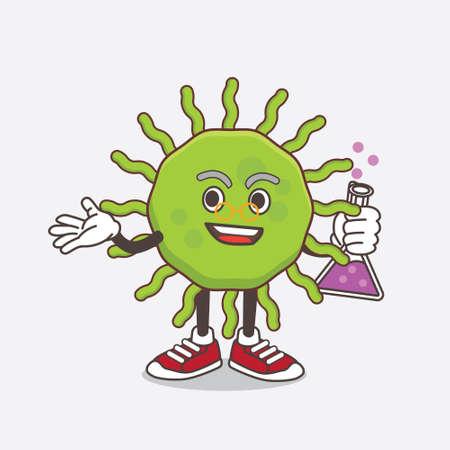 An illustration of Green Virus cartoon mascot professor character with glass tube