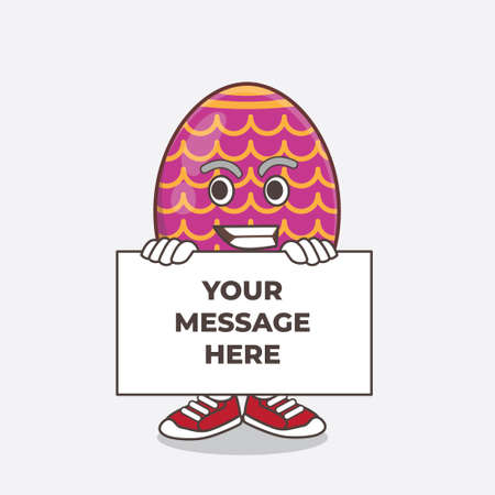 An illustration of Easter Egg cartoon mascot character with funny face hides behind a board