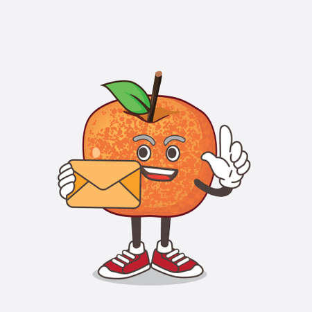 An illustration of Pluots Fruit cartoon mascot character holding an envelope