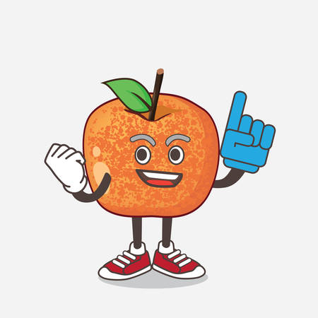 An illustration of Pluots Fruit cartoon mascot character holding a Foam finger 矢量图像