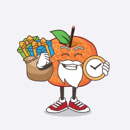 An illustration of Pluots Fruit cartoon santa mascot character having a sack of gifts 矢量图像