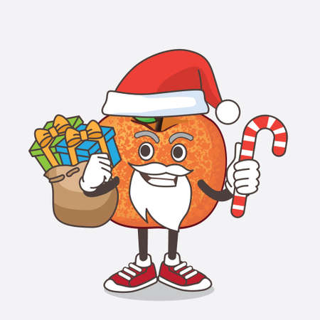 An illustration of Pluots Fruit cartoon mascot character in Santa costume with candy