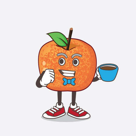 An illustration of Pluots Fruit cartoon mascot character with a cup of coffee