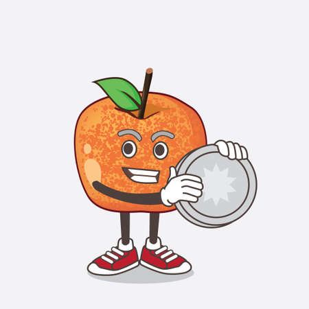 An illustration of Pluots Fruit cartoon mascot character holding a silver coin medal