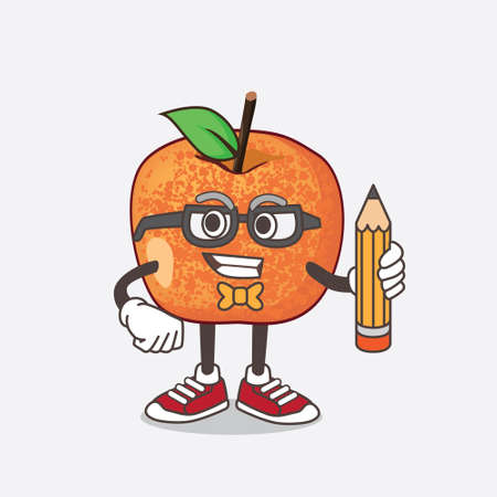 An illustration of Pluots Fruit cartoon mascot character holding pencil 矢量图像